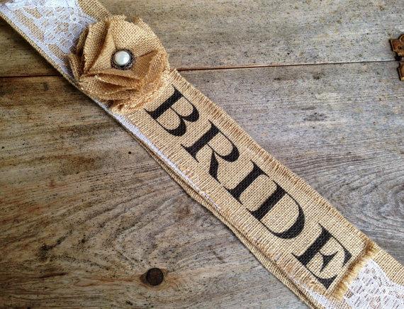 زفاف - Soon to be Mrs. Custom Burlap Bridal/Bachelorette Sash