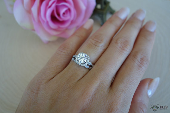 Vintage Inspired Bridal Rings D Color Man Made Diamonds 2227551