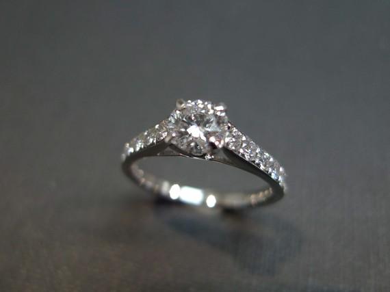 Свадьба - Engagement Diamond Ring in 18K White Gold