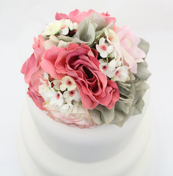 Wedding cake topper pink rose gray hydrangea silk flower wedding cake topper pink rose gray hydrangea silk flower wedding cake topper silk flower cake topper gray and pink wedding junglespirit Gallery