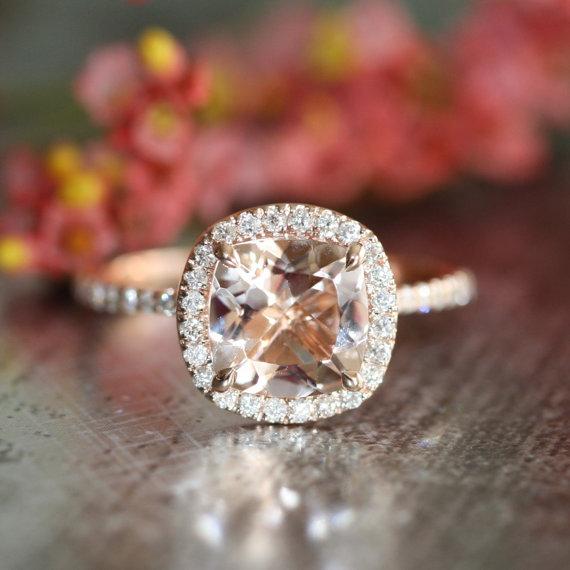 Mariage - Diamond Morganite Engagement Ring