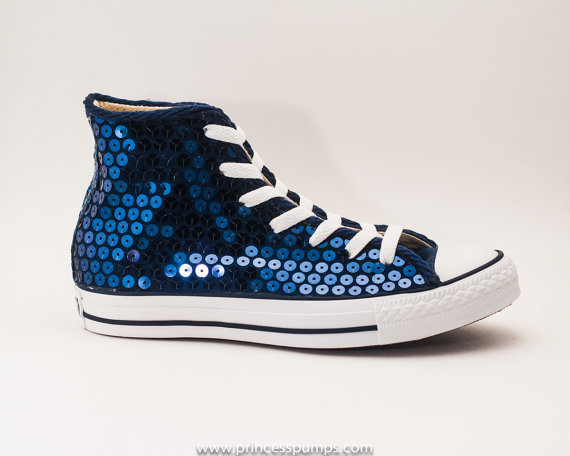 Mariage - Navy Blue Sequin Converse Canvas Hi Top Sneaker Shoes