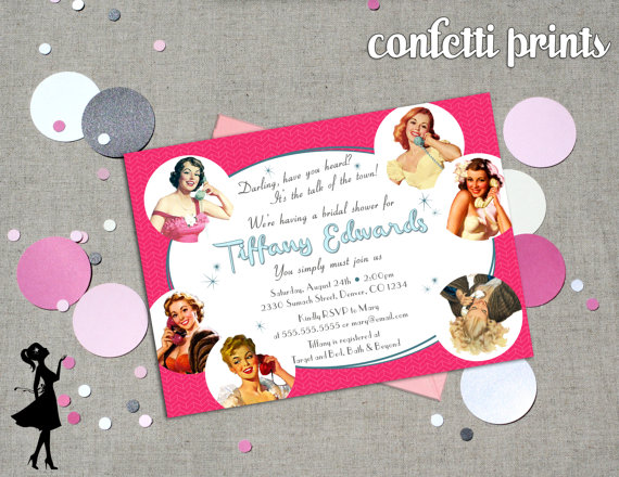 Retro bridal shower invitation talk of the town printable 2227577 retro bridal shower invitation talk of the town printable filmwisefo Gallery