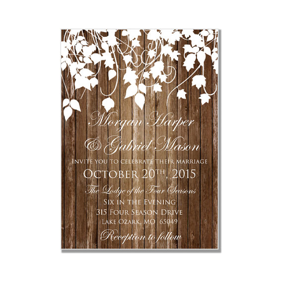 Rustic Wedding Invitation   Country Chic   Hanging Leaves   Fall Wedding    DIY Wedding Invitations   INSTANT DOWNLOAD   Microsoft Word