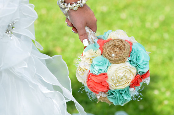 Hochzeit - Romantic coral, mint and butter rustic french pastry themed lace bridal wedding bouquet. Shabby chic fabric flowers.