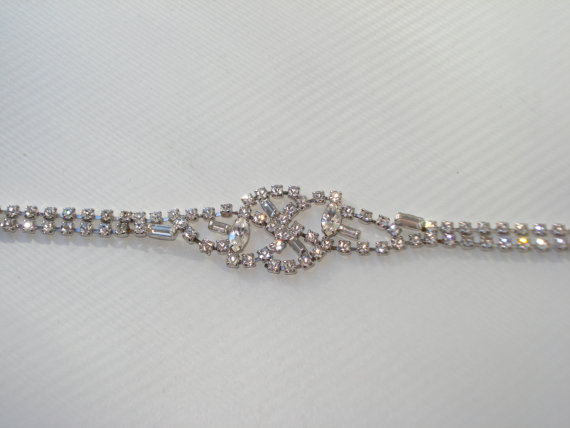 Mariage - Vintage Belle Rhinestone Crystal Bracelet - Bridal Wedding Costume Jewellery - 1960s