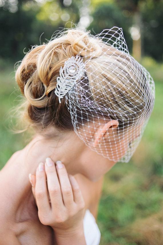 Свадьба - Veils, bridal Birdcage veil with rhinestone comb- ORSA