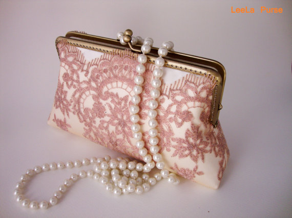 Свадьба - Vintage inspired Bridal accesories / rose gold wedding Lace clutch purse with handle chains / Bridesmaid gift /Bridal Party