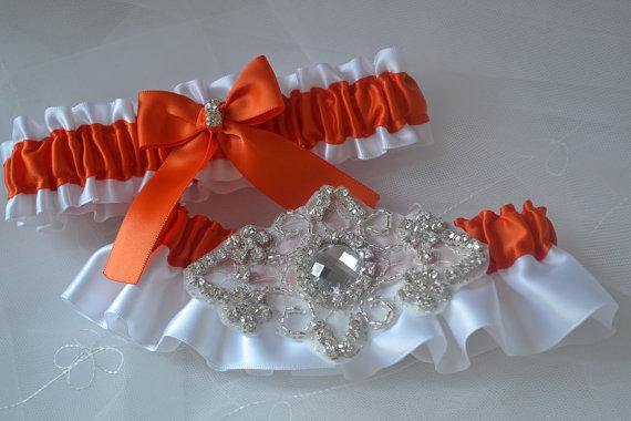 Свадьба - Wedding Garter Set, Garter Set, Torrid Orange With White Satin, Garter Belts, Bridal Garter Set, Garters, Rhinestone Garters