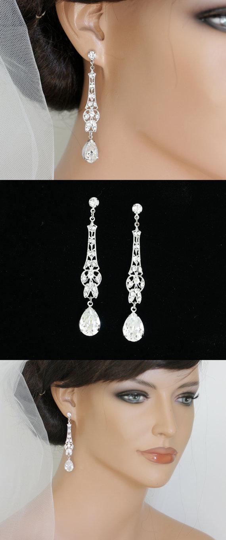 Свадьба - Art Deco Bridal Earrings Long Wedding Earrings Crystal Dangle Earrings  Vintage Wedding Jewelry  MARCELLA CRYSTAL