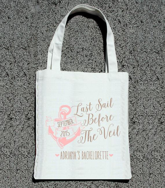Cruise Wedding Gift Bag Ideas : ... Sail Before The Veil Bachelorette Party Tote- Wedding Welcome Tote Bag