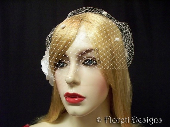 Mariage - Birdcage Wedding Veil Ivory Dotted French Bandeau 9in -Ready Made