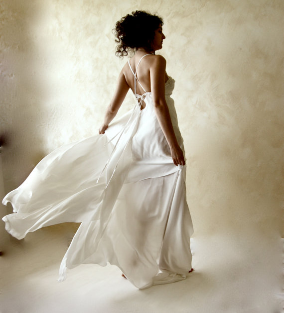 Mariage - Wedding dress, bridal gown, silk wedding gown, ethereal wedding dress, Boho wedding dress, fairy dress, backless wedding dress, alternative