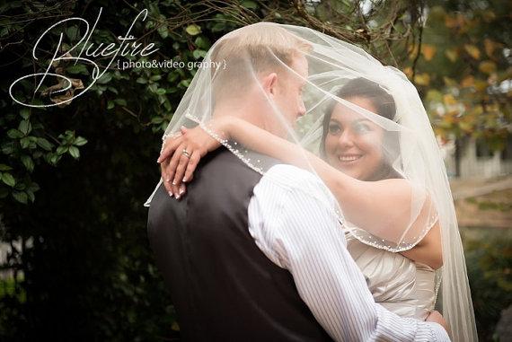 Mariage - My Juliet Fingertip Beaded Sequin Pearl Two Tier Wedding Veil