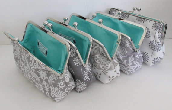 Mariage - Bridesmaid Gift, Gray and white Wedding Clutches, Accessory, clutches