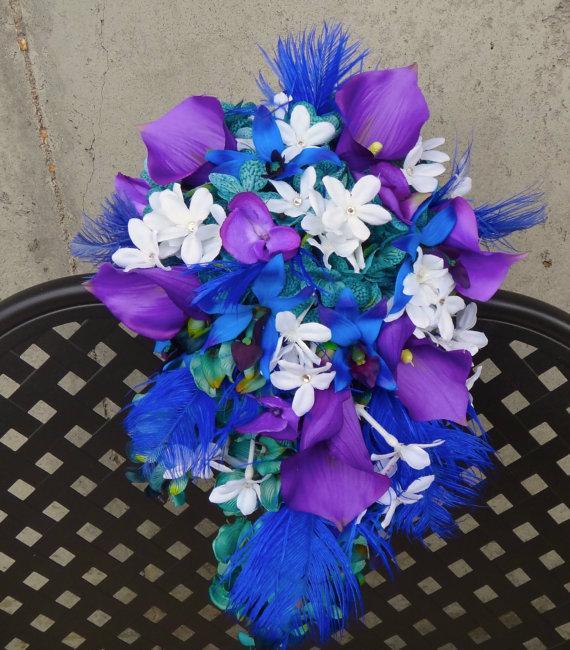 Mariage - Cascading bridal bouquet, teal, purple, blue hydrangeas, dedrobium orchids, stephanotis, ostrich feather accent