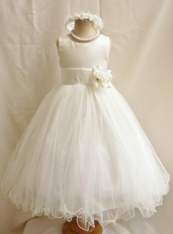 Свадьба - Flower Girl Dresses - IVORY with Ivory (FD0FL) - Wedding Easter Junior Bridesmaid - For Children Toddler Kids Teen Girls