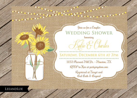 rustic couples or coed wedding shower invitation-burlap, Wedding invitations