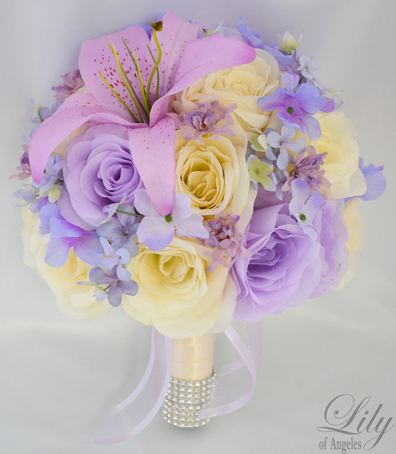 Mariage - RESERVED LISTING Wedding Bridal Bride Maid Of Honor Bridesmaid Bouquet Boutonniere Corsage Silk Flower Lily of Angeles