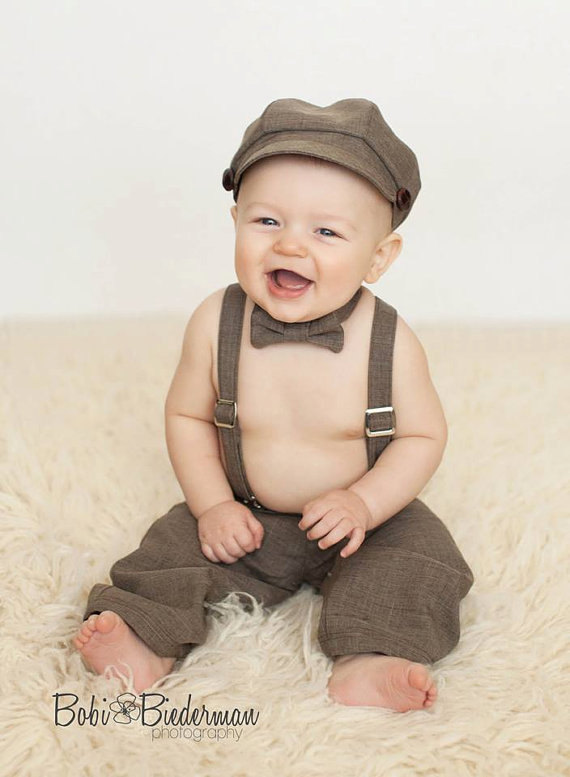 610cff405cf Newsboy outfit - hat suspenders pants bowtie - baby boy vintage photography  prop - brown wedding ring bearer set