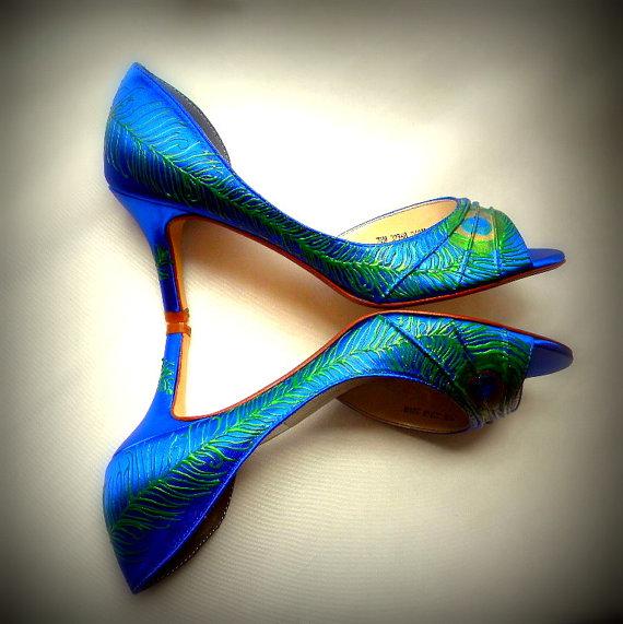 Свадьба - Bride sale  Peacock feather shoes, feather heels, sapphire blue peep toe shoes, bride peacock wedding, peacock blue wedding ,Esther