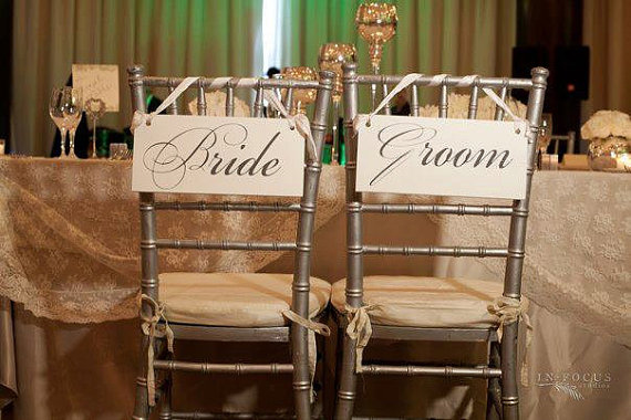 Wedding Signs, Bride And Groom Chair Signs And/or Thank You Signs. 6 ...