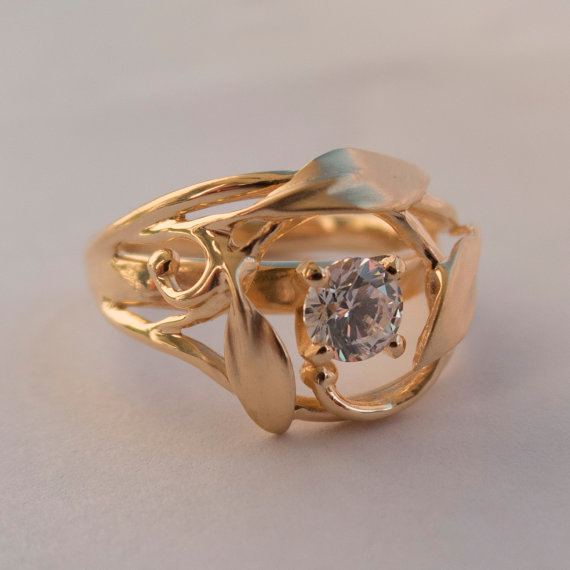 Leaves Engagement Ring No 5 14K Rose Gold And Diamond
