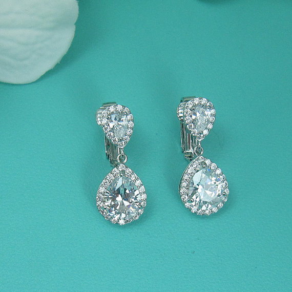 Clip On Cz Earrings Pear Cubic Zirconia Wedding Bridal Jewelry Teardrop