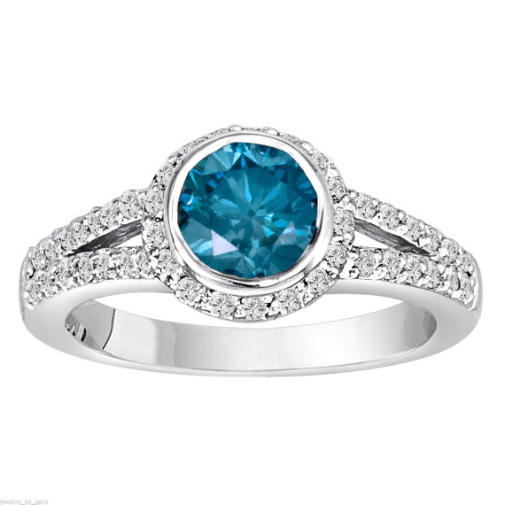 Свадьба - 1.44 Carat Fancy Blue & White Diamonds Halo Engagement  Ring 14K White Gold HandMade Low Bezel Set
