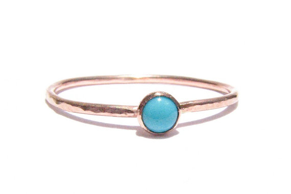 Свадьба - Sale!  -  Turquoise & Solid Rose Gold Ring - Stacking Ring - Thin Gold Ring - Gemstone Ring - Engagement Ring - MADE TO ORDER in your size.