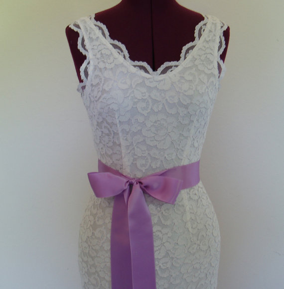 wedding lilac purple wedding sash plain bridal dress belt bridesmaid