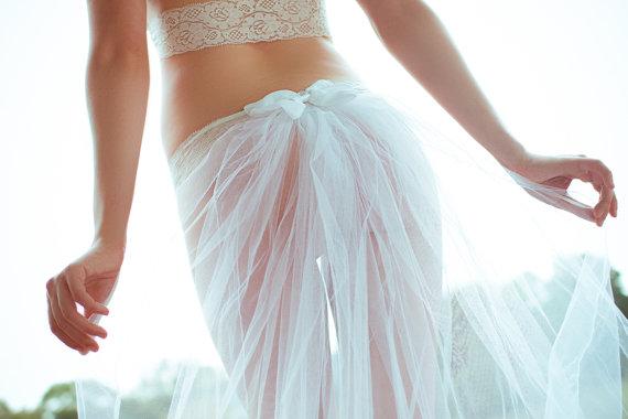 White Wedding Lingerie- Bridal Train Thong- Honeymoon Attire ...