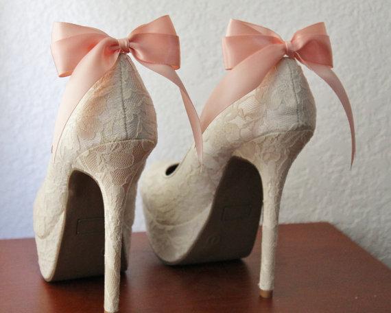 زفاف - Peach Ribbon Bow Shoe Clips