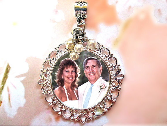 Wedding - Pearls & Silver Memorial Photo Charm , Wedding Bouquet - WITH OR WITHOUT Pearls - Custom Shiny Filigree Round Vintage Bridal