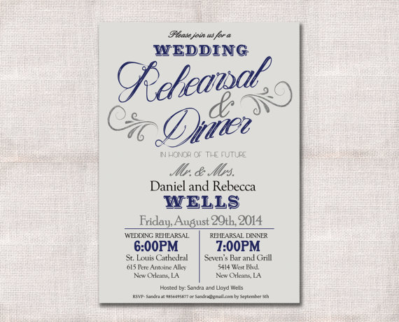 Mariage - Wedding Rehearsal Dinner invitation custom printable 5x7