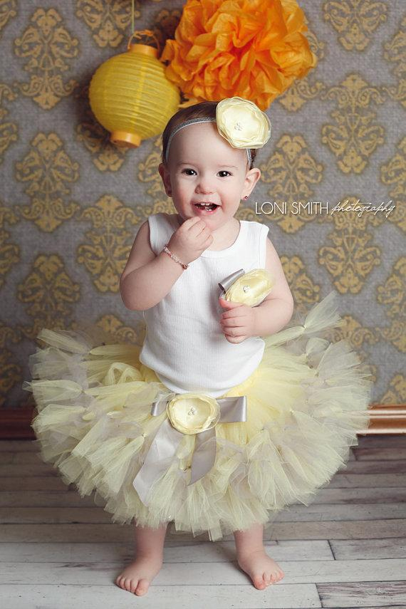 Yellow tutu dress for girls.