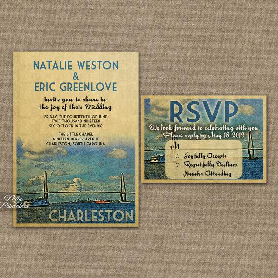 Свадьба - Charleston Wedding Invitation - Printable Charleston South Carolina Wedding Invites - Charleston Retro Wedding Suite or Solo VTW
