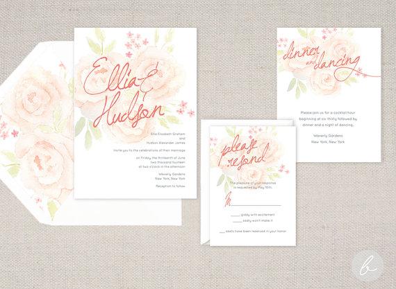 Wedding - English Garden Peach Watercolor Wedding Invitation Collection - Sample