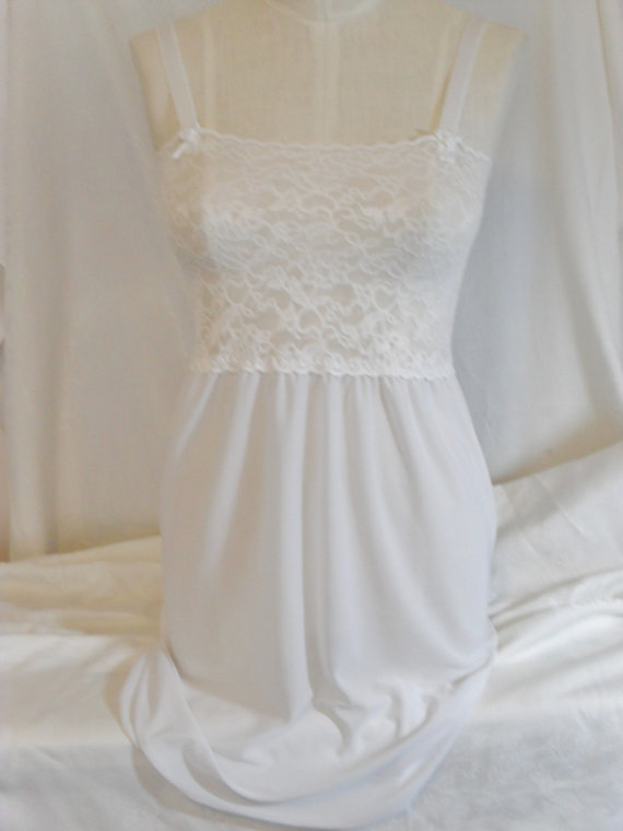 Hochzeit - Sexy White Nightgown with White Lace and Adjustable Bra Straps