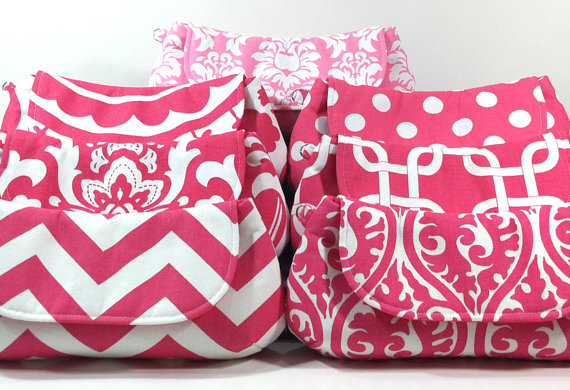 Wedding - Bridesmaid Clutches Bridal Party Gifts Wedding Clutch Choose Your Fabric Pink Set of 6