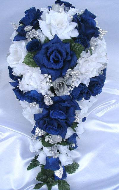 Free Shipping Wedding Bouquet Bridal Silk Flower 21 Pieces Package Dark Blue Royal Silver Centerpieces Decoration Rosesanddreams