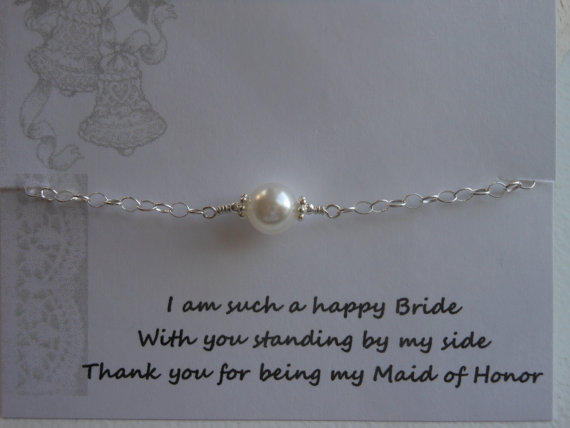 Maid Of Honor Gift Pearl Bracelet Sterling Silver Bracelet Thank