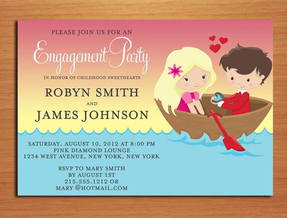 Mariage - Childhood Sweetheart Boat Engagement Party Customized Printable Invitations /  DIY