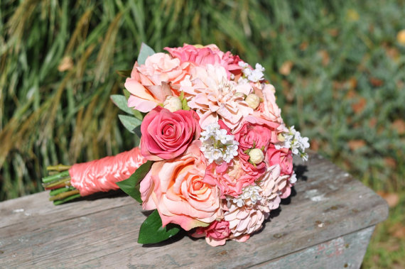 Mariage - Wedding Flowers, Summer Wedding Bouquet, Keepsake Bouquet, Bridal Bouquet with Peach Dahlia, Coral Rose tones silk wedding flower bouquet.