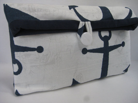 Hochzeit - Bridesmaid Gift /New Summer Foldover Clutch/Cosmetic/Make Up Bag / Wedding in Summer Nautical Anchor in Navy