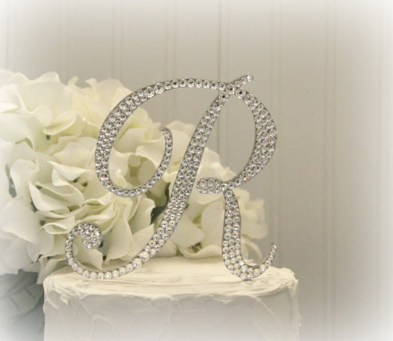 Mariage - Monogram Wedding Cake Topper Decorated with Swarovski Crystals in Any Letter A B C D E F G H I J K L M N O P Q R S T U V W X Y Z