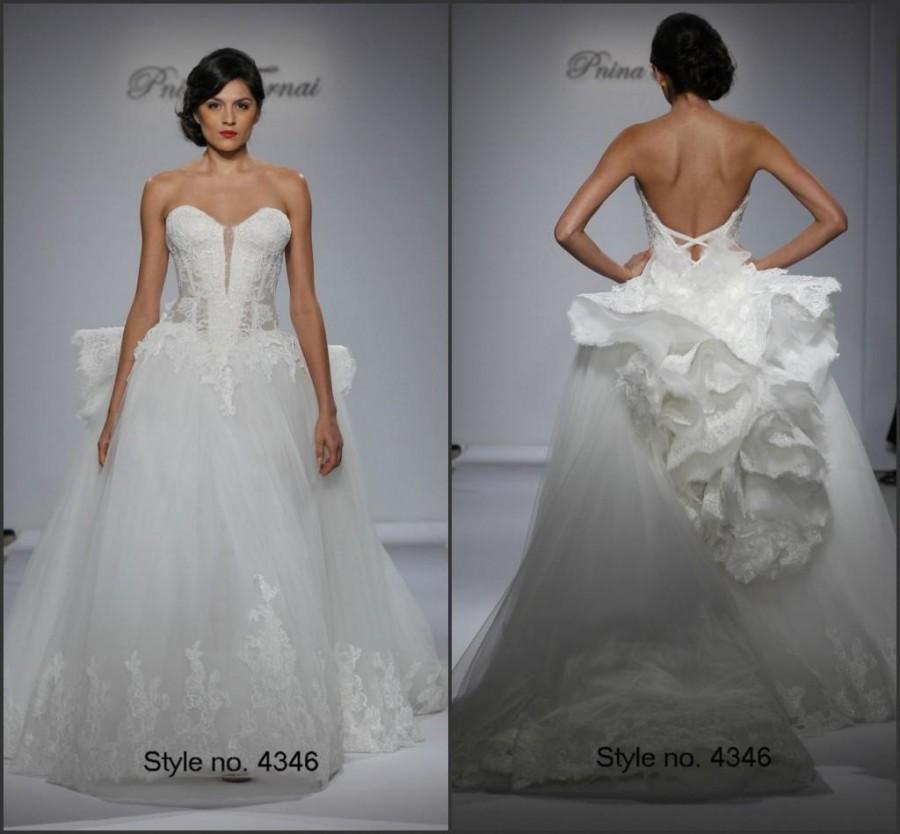 2015 Spring Vestido De Novia Wedding Dresses Draped Lace Pnina ...