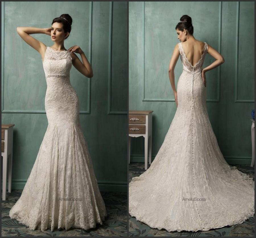 2015 Amelia Sposa Mermaid Spring Ivory Wedding Dresses Vestido De Novia Appliques Lace Sheer