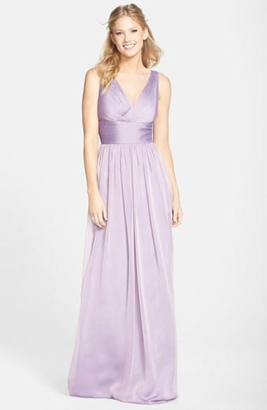 ML Monique Lhuillier Bridesmaids Sleeveless Ruched Chiffon Dress ...