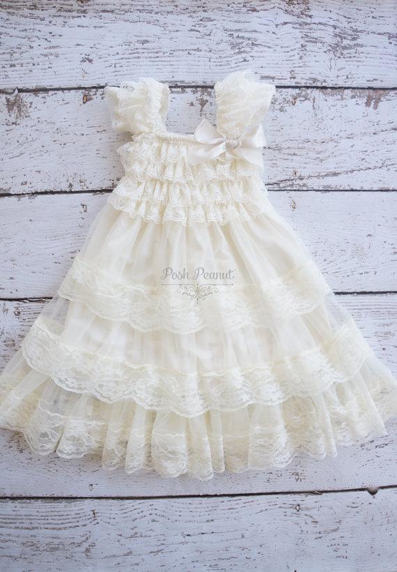251250163c92 ivory flower girl dress- lace flower girl dress- lace baby dress- toddler  flower girl dress- rustic flower girl- baby lace dresses - baby
